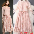 New Women Ladies Runway Round Collar Lace Ball Gown Long Cocktail Party Dress