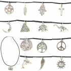 CORD CHOKER NECKLACE Sun Moon Cross Pentagram Tree Hamsa Peace NEW 90s Grunge