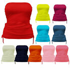 Womens Ladies Ruched Side Tie Boobtube Bandeau Strapless Vest Crop Top 8 -22