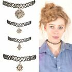 TATTOO CHOKER NECKLACE Silver Sun Moon Hamsa Pizza Feather NEW 90s Grunge