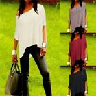 2016 Chic Women Irrgular Oblique Sleeve Casual Vest T Shirt Tops Blouse Top LJ