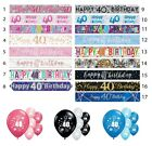 40th BIRTHDAY PARTY BANNERS AGE 40 PARTY DECORATIONS PINK BLUE BLACK