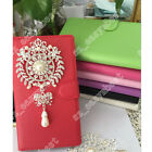 Hot Style Bling Diamond Jewelled Wallet PU Leather Flip Case Cover For Samsung