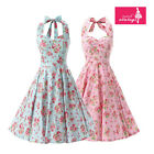 Women's Mint Pink Floral Dress Vintage Halter 50s Rockabilly Swing Dress