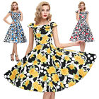 New Women Ladies Vintage 1950s 40s Party Evening Prom Flared Tea Dress Plus Size