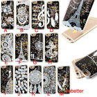 Black Glitter Patterned Bling Stars Quicksand Clear Hard Case Cover For iPhone