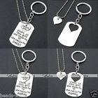 2pcs Silver Metal Daddy Mommy Girl Inline Heart Puzzle Necklace Keyring Keychain