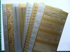 8 sheets Peel off stickers Gold/Silver-Letters, Numbers, Relations, Borders,