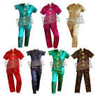 New Womens 2pc Small Chinese Embroidered Damask Pagoda Toile Pajamas Set SZ S