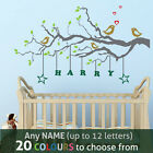 PERSONALISED NAME kids boy girl nursery FAMILY TREE birds wall art sticker decal