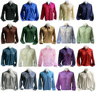 New Mens Thai Silk Shirt S M L XL 2XL 3XL Long Sleeve Casual  Dress 20 Colors