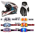 O'Neal 10 Series Carbon Hangtown Weiß Combo Set MX Helm Brille Handschuhe Cross