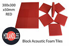 BLR300 Red Acoustic Foam Block Tiles - Multiple Quantities 300x300x50mm