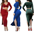Woman Stylish V-Neck Long Sleeve Skirt Hip package Slit Maxi Dress Set 2 Pieces