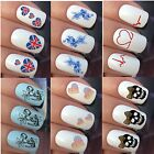 NAIL ART STICKERS WATER TRANSFER DECALS WRAPS FLOWERS HEARTS SKULLS POWS NOTES
