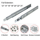 "Full Extension12~22"" Soft Close Side Mount Ball Bearing Hydraulic Drawer slides"