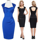 UK Womens Sexy Bodycon Pencil Cocktail Evening Ladies Party Midi Dress Size 4-18