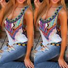 Sexy Women Fashion Sleeveless Printed Vest Tee Shirt Boho Blouse Casual Tank Top