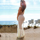 Summer New Women Sheer O-Neck Sleeveless Lace Maxi Dress Beach Party Sundress