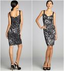 LAUNDRY by Shelli Segal $265 Black Silver Stretch Lace Tank Dress Sz 8 NEW