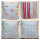 Clarke and Clarke Mix Match Powder Blue Tilly Rosebud Stripe  Spot Cushion Cover