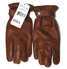 $495 Ralph Lauren Black Label Mens Brown RL Leather Cashmere Italy Gloves Size 7