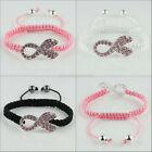 Crystal Ribbon Breast Cancer Awareness Silver Connector Macrame Adjust Bracelet