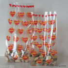 10 Valentines Day Cellophane Gift Bags *Ribbon Hearts* Choose Size / Wedding