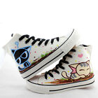 Women Fashion Hand Painted Cute Kitten Cat Print Lace-up Ankle-high Canvas Shoes