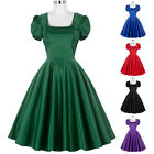 Smooth Satin Women 1950S Retro Vintage Party Evening Cocktail Short Sleeve Dress
