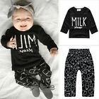 2pcs Baby Girls Boys Outfits Clothes Long Sleeve Letter MILK T-shirt Pants Set