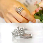 2pcs/Set  Rhinestone Crown Queen Band Silver Plated White Crystal Rings Cool