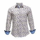 TR Premium Men's Slim Fit Button Down Long Sleeve Floral Design Shirt 699 White