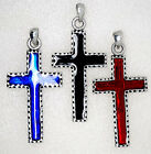 CROSS 3 colors to choose from Black Red Blue Pewter Metal Pendant Charm Amulet
