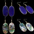 Lapis Lazuli/Abalone Shell Gold Plated 18KGP Dangle Drop Earring Jewelry 1 Pair