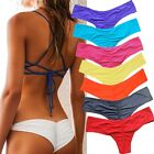 Brazilian Womens V Thong Cheeky Ruched Bikini Bottom Swimwear Beachwear S-XL FO