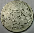 1915 AUSTRALIA FLORIN, STERLING SILVER COIN - KEY DATE