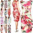 Womens Ladies Floral Print Sleeveless Pleated Big Bow Knot Plus Size Party Dress