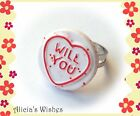 Valentine Jewellery Kitsch Love Heart Sweet Ring Novelty Engagement
