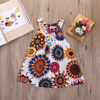 Kids Girls Fashion Summer Princess Sleeveless Dress Floral Party Dress 2-7Y