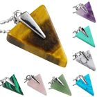 Amethyst Malachite Quartz Tiger's Eye Gemstone Triangle Healing Charms Pendent