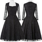 Womens Lace Vintage 1950s 60s Swing Party Evening Pin Up Floral Dress