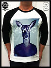Mens Rare  hipster SWAG Blue deer 3/4 Long T SHIRT girls DOPE trendy womens top