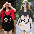 Womens Casual Loose Batwing Sleeve T-shirt Cat Print Round Neck Tops Blouse TXCL