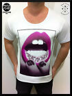 MENS MID-DEEP SCOOP NECK FASHION T SHIRT Tattoo RETRO OG Trashy sexy club top