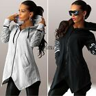 2016 Women Zipper Pocket Blouse Hoodie Lady Sweatshirts Pullover Top Asymmetric