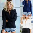 Women Lace Up Deep V-neck Tie Front Long Sleeve Chiffon Blouse Top Shirt T-Shirt