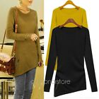 Womens Long Sleeve Loose Irregular Pullover knitwear Top Jumper T-shirt Blouse