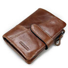 Men's Leather Bifold Wallet Clutch Zip Coin Purse Credit ID Card Holder Billfold
