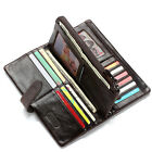 Men's Cowhide Leather Wallet Zip Coin Purse Clutch Handbag Card Holder Checkbook